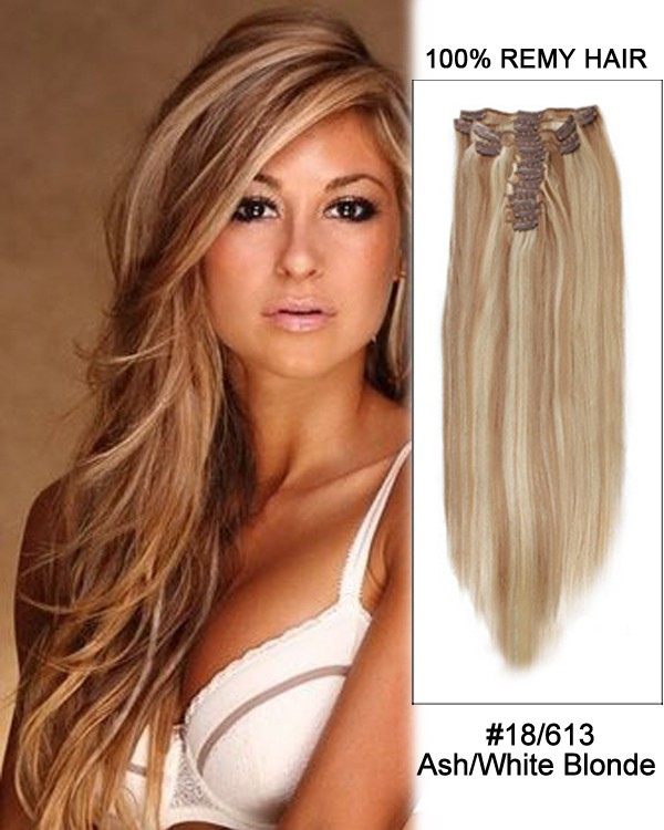 Feshfen 14 7pcs 18613 Ash White Blonde Straight 100