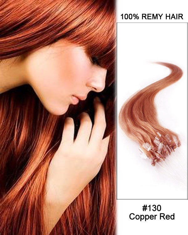 Feshfen 14 130 Copper Red Straight Micro Loop 100 Remy