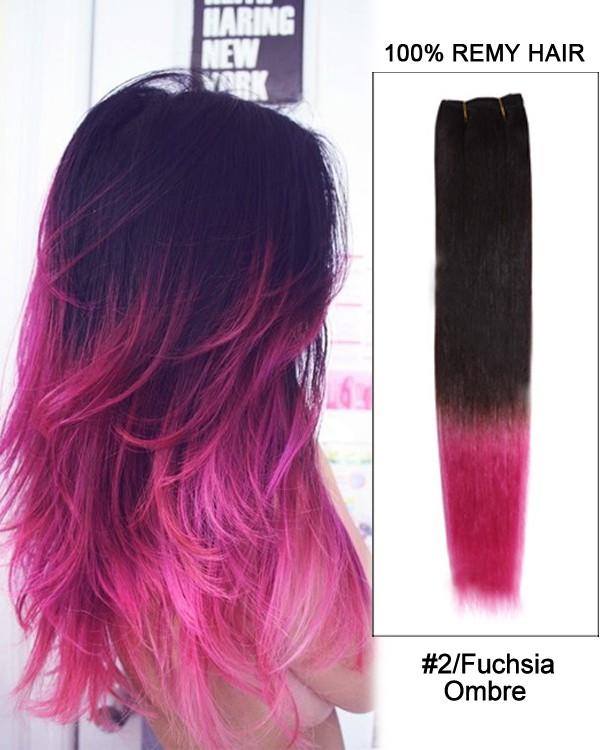 Feshfen 16 2fuchsia Ombre Straight Weave 100 Remy Hair