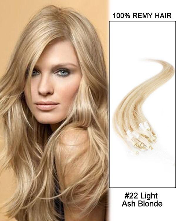 Feshfen 14 22 Light Ash Blonde Straight Micro Loop 100