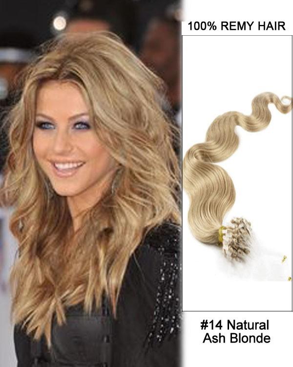 Feshfen 14 14 Natural Ash Blonde Body Wave Micro Loop