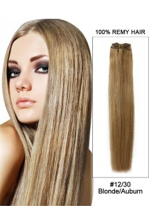 "20"" #12/30 Golden Brown/Auburn Straight Weave Remy Hair Weft  Human Hair Extensions"
