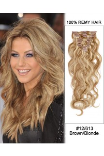 "14"" 7pcs #12/613 Brown/Blonde Body Wave 100% Remy Hair Clip In Human Hair Extensions"