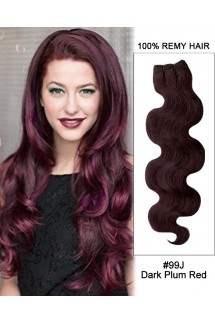"20"" #99J Dark Plum Red Body Wave Weave Remy Human Hair Extension"