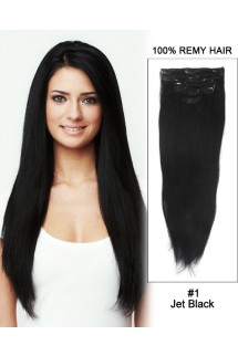 "14"" 7pcs #1 Jet Black Straight 100% Remy Hair Clip in Hair Extension"