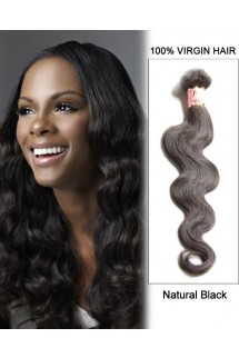 "18"" Natural Black Body Wave Brazilian Remy Hair Weave Weft Human Hair Extensions"