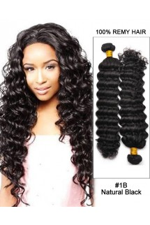 "18""Natural Black Curly Wave Virgin Hair 100%  Remy Hair Weave Weft Human Hair Extensions"
