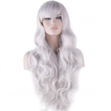 Cosplay Wigs Long Hair Heat Resistant Curly Wave Hairs for Women (silver white)