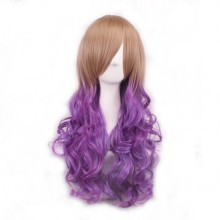 Women and Girl Wig Gradient Long Hair Heat Resistant Curly Cosplay Wigs Harajuku Style Lolita (Purple+Brown)