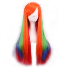 Women colorful Wig Gradient Long straight hair Heat Resistant Cosplay Wigs (Orange + Green + Jewelry blue)