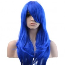 Wig Long Big Wavy Hair Women Cosplay Party Costume Wig(Blue)
