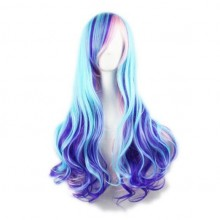 Wig Gradient Long Curly Hair Women and Girl Daily Cosplay Party Costume Wig(Blue Mixed Pink)