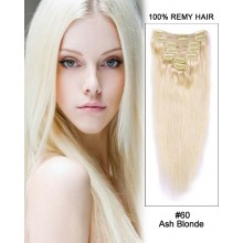 "14"" 7pcs #60 Ash Blonde Straight Clip in Remy Human Hair Extension"