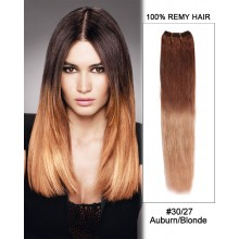 """18"""" #30/27 Auburn/Blonde Ombre Straight Weave Remy Human Hair Extension"""