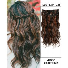 "14"" 7pcs #1B/30 Black/Auburn Body Wave 100% Remy Hair Clip In Human Hair Extensions"