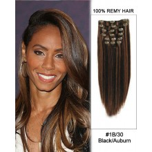 "14"" 7pcs #1B/30 Black/Auburn Straight 100% Remy Hair Clip In Human Hair Extensions"