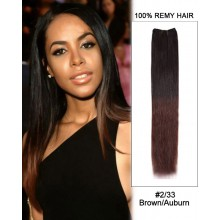 "16"" #2/33 Brown/Auburn Ombre Straight Weave 100% Remy Hair Weft  Hair Extensions"