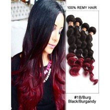 "20""  Loose Wave Black Burgandy Ombre Remy Hair Weave Weft Human Hair Extension"
