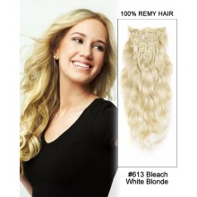 "16"" #613 Bleach White Blonde 7pcs Body Wave Remy Hair Clip in Hair Extensions"