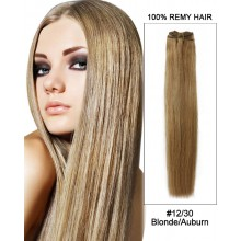 """20"""" #12/30 Golden Brown/Auburn Straight Weave Remy Hair Weft  Human Hair Extensions"""