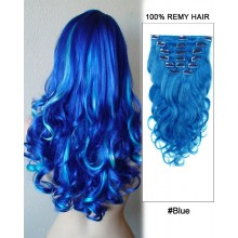"16"" 7pcs #Blue Body Wave 100% Remy Hair Clip In Human Hair Extensions"