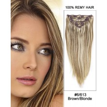 "26"" 9pcs Straight 100% Remy Hair Clip in Extensions #6/613 Brown/Blonde"