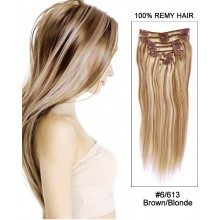 "14"" 7pcs #6/613 Brown/Blonde Straight 100% Remy Hair Clip In Hair Extensions"