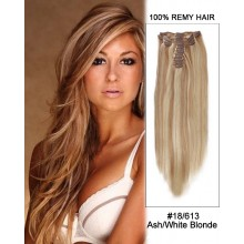"14"" 7pcs #18/613 Ash White Blonde Straight 100% Remy Hair Clip In Human Hair Extensions"