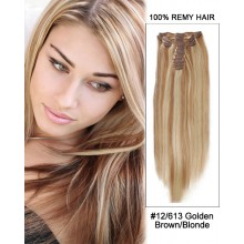 """14"""" 7pcs #12/613 Brown/Blonde Straight 100% Remy Hair Clip In Human Hair Extensions"""