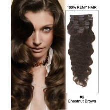 "24"" 7pcs #6 Chestnut Brown Body Wave 100% Remy Hair Clip in Hair Extensions"