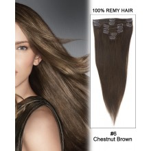 "14"" 7pcs #6 Chestnut Brown Straight 100% Remy Hair Clip in Hair Extensions"
