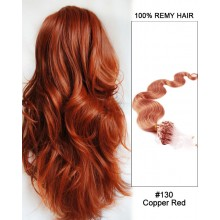 "14"" #130 Copper Red Body Wave Micro Loop 100% Remy Hair Human Hair Extensions-100 strands, 1g/strand"