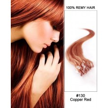 "14"" #130 Copper Red Straight Micro Loop 100% Remy Hair Human Hair Extensions-50 strands, 1g/strand"