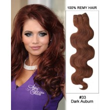 "18"" #33 Dark Auburn Body Wave Weave Remy Hair Weft Human Hair Extensions"