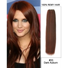 "18"" #33 Dark Auburn Straight Weave 100% Remy Hair Weft Human Hair Extension"