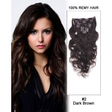 "22"" 9pcs #2 Dark Brown Body Wave 100% Remy Hair Clip in Hair Extension"
