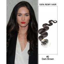 "14"" #2 Dark Brown Body Wave Micro Loop 100% Remy Hair Human Hair Extensions-100 strands, 1g/strand"