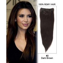 "14"" 7pcs #2 Dark Brown Straight 100% Remy Hair Clip in Hair Extensions"