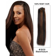"16"" #1B/30 Black/Auburn Straight Weave Remy Hair Weft Hair Extensions"