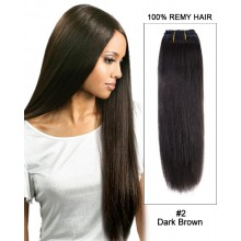 "14""#2 Dark Brown Straight Weave 100% Remy Hair Weft  Hair Extensions"