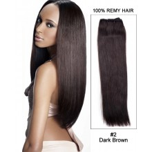 "16"" Yaki Straight Brazilian Remy Hair Weave Weft Human Hair Extensions- #2 Dark Brown"