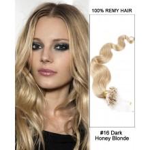 "14"" #16 Dark Honey Blonde Body Wave Micro Loop 100% Remy Hair Human Hair Extensions-100 strands, 1g/strand"