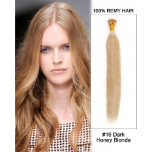 "14"" #16 Dark Honey Blonde Straight Stick Tip I Tip 100% Remy Hair Keratin Hair Extensions-100 strands, 1g/strand"