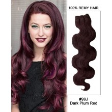 """20"""" #99J Dark Plum Red Body Wave Weave Remy Human Hair Extension"""