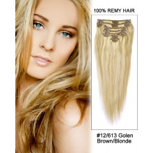 "16"" 7pcs Straight 100% Remy Hair Clip In Hair Extensions #12/613-Golden Brown/Blonde"