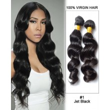 "20"" Black Loose Wave Unprocessed Indian Remy Hair Weave Weft  Human Hair Extensions"