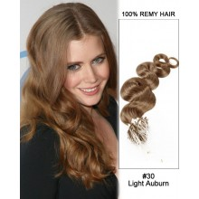 "14"" #30 Light Auburn Body Wave Micro Loop 100% Remy Hair Human Hair Extensions-100 strands, 1g/strand"