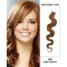 "14"" #30 Light Auburn Body Wave 100% Remy Hair Tape In Hair Extensions-40 pcs"