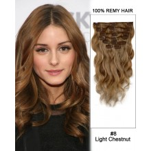 """16"""" 7pcs #8 Light Chestnut Body Wave 100% Remy Hair Clip In Human Hair Extensions"""