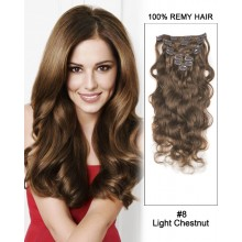 "20"" 9pcs Body Wave Clip in Remy Human Hair Extensions #8 Light Chestnut"